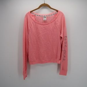 PINK Victoria's Secret Embroidered Long Sleeve Top